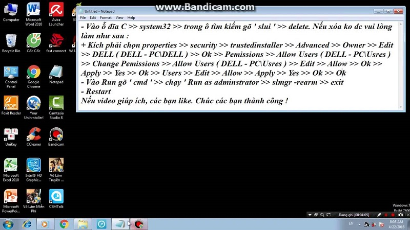 Sửa lỗi this copy of windows is not genuine win 7 build 7601 bằng Command prompt